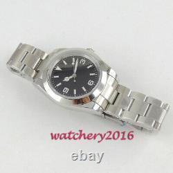 39mm Japan NH35 Automatic Men's Watch Black Dial Sapphire Glass Oyster Bracelet