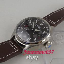 42mm Power Reserve Men's Watch Black Dial Luminous Automatic Wristwatch