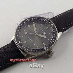 43mm DEBERT gray dial ceramic bezel Sapphire miyota 821A Automatic mens Watch 35