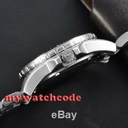 43mm PARNIS white marke Sapphire glass 20atm automatic mens dive watch P473AU