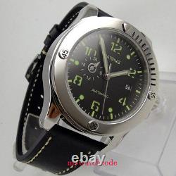 43mm parnis black sandwich dial sapphire crystal miyota automatic mens watch