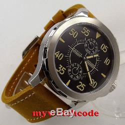 44mm PARNIS black dial power reserve steel Sapphire glass Automatic Men Watch