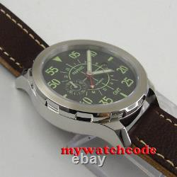 44mm PARNIS black dial red GMT date Sapphire glass Automatic Mens Watch P777