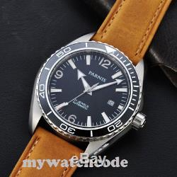 45mm PARNIS black dial date window Sapphire Glass miyota Automatic mens Watch