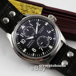 47mm PARNIS black dial leather power reserve ST2542 automatic mens watch P95