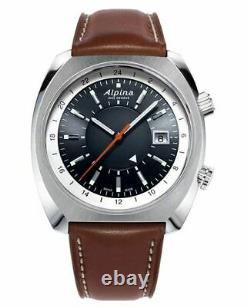 Alpina Men Automatic Startimer Pilot Watch, Brown Leather Strap AL-555DGS4H6