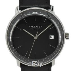 Auth JUNGHANS 027/4701 Max Bill Date Black Dial Automatic Men's Watch P#93735