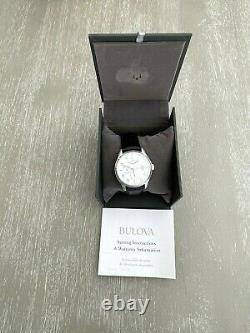 Bulova 96C141 Men's Watch Wilton Automatic Power Reserve Silver Dial Black Strap