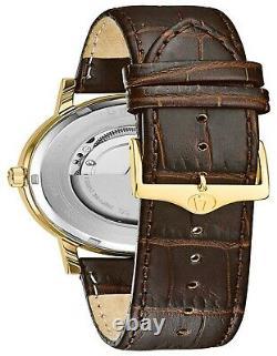 Bulova American Clipper Men's Automatic Exhibition Case Back 42mm Watch 97C107