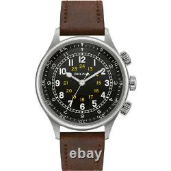 Bulova Men's A-15 Pilot Automatic Stainless Steel/Brown Leather Watch #96A245