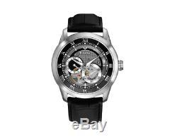 Bulova Men's Automatic Open Heart Window Black Leather Strap 42mm Watch 96A135