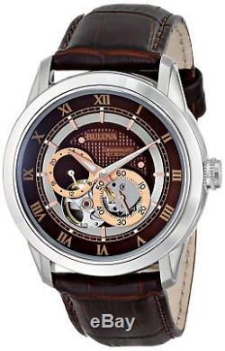 Bulova Men's Automatic Open Heart Window Brown Leather Strap 42mm Watch 96A120