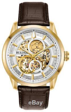 Bulova Men's Sutton Automatic Exhibition Dial Gold-Tone 43mm Watch 97A138