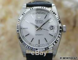 Bulova Super Seville Swiss Made Mens Automatic Day Date Stainless St Watch MC13