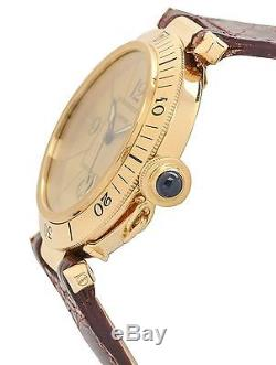 Cartier Pasha 1020 Mens Automatic Watch 18k Gold Brown Leather Band Beige Dial