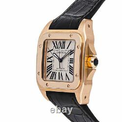 Cartier Santos 100 Medium Model Auto 44mm Rose Gold Mens Strap Watch W20108Y1
