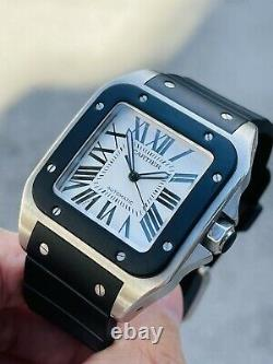 Cartier Santos XL 2656 Mens 38mm Stainless Steel & Rubber Automatic Watch