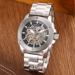 Fossil Modern Machine Automatic Silver Tone Skeleton Dial Mens Watch ME3081