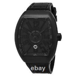 Franck Muller Men's Vanguard Leather Titanium Automatic Watch V45SCBLKBLKBLK
