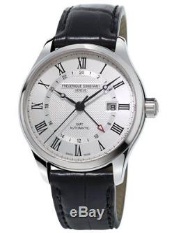 Frédérique Constant GMT Men's FC-350MC5B6 Automatic Silver Dial Black 42mm Watch