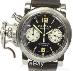 GRAHAM Chronofighter Chronograph Automatic Leather Belt Men's Watch 475638