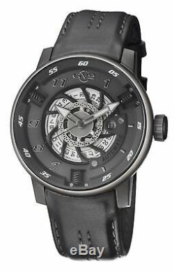GV2 By Gevril Men's 1303 Motorcycle Sport Automatic Grey Leather Date Watch