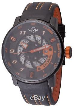 GV2 By Gevril Men's 1304 Motorcycle Sport Automatic Black Leather Date Watch