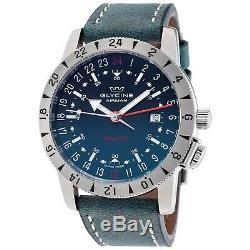 Glycine 3887.18. LB8B Men's Base 22 GMT Automatic 42mm Blue Dial Blue Leather