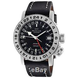 Glycine 3918.19. LB9B Men's Airman 18 GMT Automatic 39mm Black Dial Watch