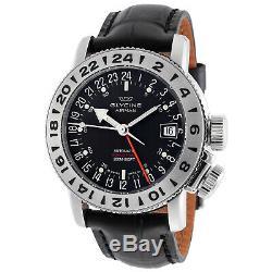 Glycine 3918.19. LBK9 Men's Airman 18 GMT Automatic 39mm Black Dial Watch