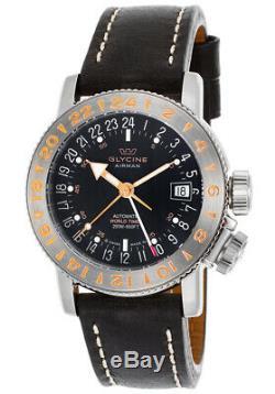 Glycine 3918.196. LB9B Men's Airman 18 GMT Automatic 39mm Black Dial Watch