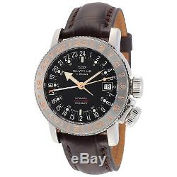 Glycine 3918.196. LBK7F Men's Airman 18 GMT Automatic 39mm Black Dial Watch