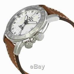 Glycine Airman Worldtimer GMT Automatic Silver Dial Brown Leather Men's Watch