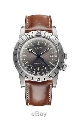 Glycine Men's GL0183 Airman Vintage The Chief GMT Automatic 40mm Grey Dial