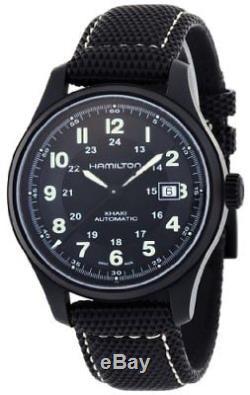 Hamilton Khaki Field Titanium Black Dial Leather Automatic Men's Watch H70575733