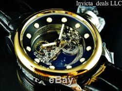Invicta 52mm Russian Diver GHOST BRIDGE AUTOMATIC GOLD TONE Leather Watch-RARE