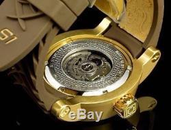 Invicta Men S1 Yakuza Dragon 24J Automatic 18K Matte Gold IP Brown Strap Watch