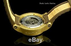 Invicta men's S1 Rally Yakuza AUTOMATIC Gold Tone Dial Brown Silicone Strap