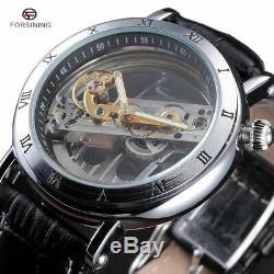 Luxury Men's Skeleton Leather Steampunk Automatic Mechanical Wrist Watch Black