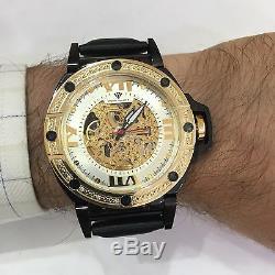 Men Aqua Master Automatic Skeleton. 24 ct Diamond Mens Steel Watch W#331