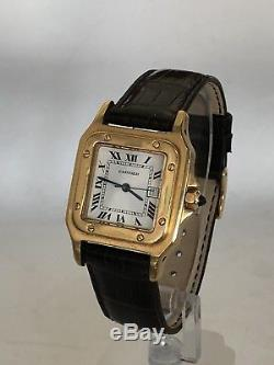 Men's Cartier Santos 18K Yellow Gold Leather Band 29mm Automatic Date Watch