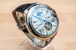 Mens Date Day Moon Phase Silver Chrome Automatic Mechanical Watch USA SHIP