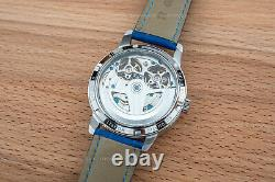 Mens Double Flywheel Automatic Mechanical Watch Silver White Dial Blue Leather