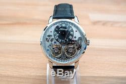 Mens Double Flywheel Luxury Bling Skeleton Automatic Mechanical Leather Watch