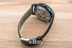 Mens Double Flywheel Open Heart Exhibition Skeleton Automatic Mechanical Watch