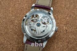 Mens Double Flywheel Skeleton Automatic Mechanical Leather Watch Silver Purple