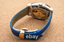 Mens Dual Time Automatic Mechanical Power Reserve Watch Rose Gold Blue Deployant
