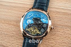Mens Dual Time Automatic Mechanical Watch Rose Gold Black Dial Leather Deployant