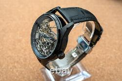 Mens Flywheel Bridge Movement Automatic Mechanical Watch Black Silver Deployant