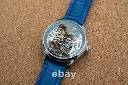 Mens Flywheel Bridge Movement Automatic Mechanical Watch Silver Blue Deployant